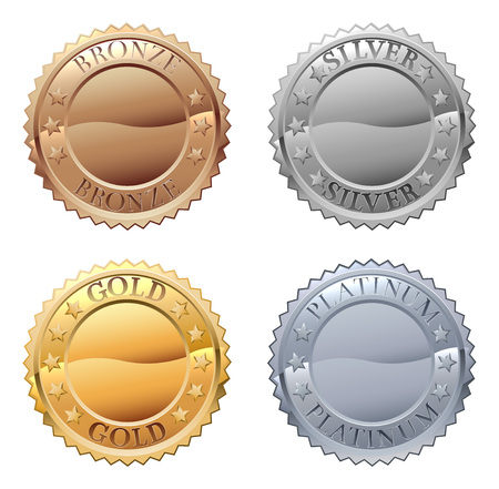 Ilustración de A medals icon set with platinum, gold, silver and bronze badges - Imagen libre de derechos