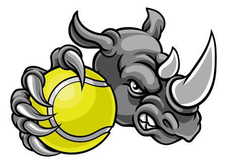 Ilustración de Rhino Tennis Ball Sports Mascot - Imagen libre de derechos