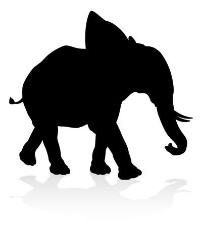 Ilustración de Elephant Safari Animal Silhouette - Imagen libre de derechos