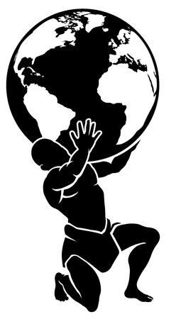 Illustration for Atlas Titan Holding Globe - Royalty Free Image