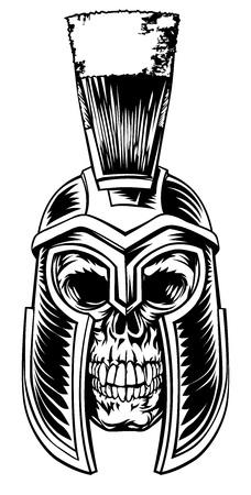 Illustration pour Skull Spartan Graphic - image libre de droit