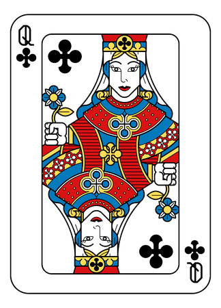 Illustration pour A playing card Queen of Clubs in yellow, red, blue and black from a new modern original complete full deck design. Standard poker size. - image libre de droit