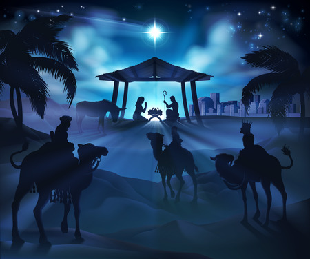 Illustration pour Christmas nativity scene, baby Jesus, Mary and Joseph in manger. Bethlehem in background. 3 Wise Men riding camels in silhouette to pay homage. The star above stable. Christian religious illustration. - image libre de droit