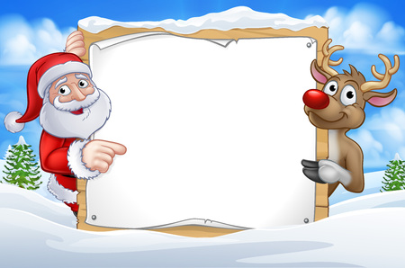 Illustration for Santa Claus and Reindeer Christmas cartoon characters in a winter scene pointing at a sign - Royalty Free Image