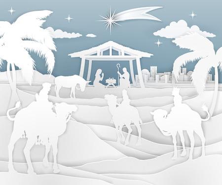 Illustration pour Nativity Christmas Scene Paper Style - image libre de droit