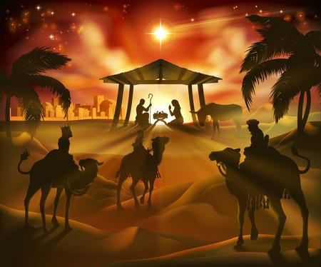 Illustration pour Nativity Christmas Scene - image libre de droit