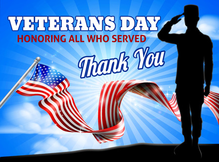 Foto per American Flag Veterans Day Soldier Saluting - Immagine Royalty Free
