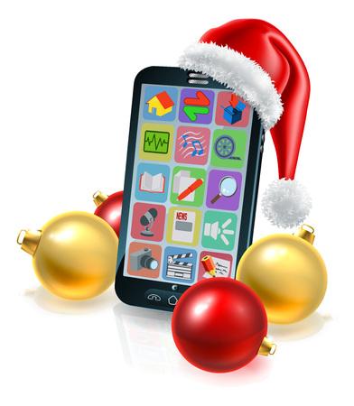 Illustration pour A Christmas Mobile Phone conceptual illustration with a Santa hat and baubles - image libre de droit