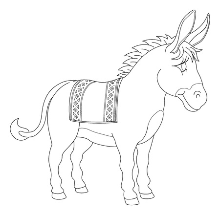 Photo pour A donkey animal cute cartoon character black and white coloring illustration - image libre de droit