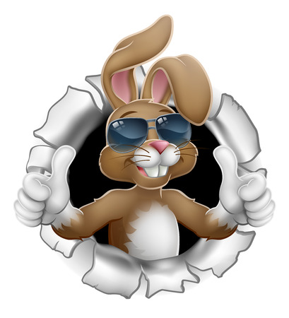 Illustration pour Easter bunny rabbit cartoon character in cool sunglasses or shades breaking through the background and giving a thumbs up - image libre de droit