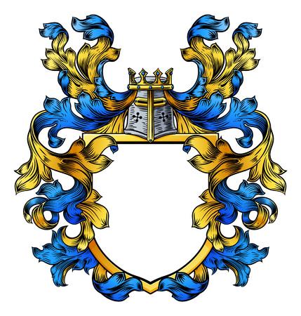 Ilustración de A coat of arms crest heraldic medieval knight or royal family shield. Blue and yellow vintage motif with filigree leaf heraldry. - Imagen libre de derechos