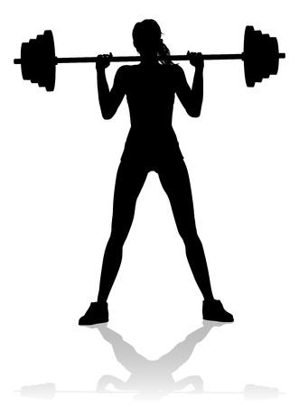 Ilustración de A woman in silhouette using barbell weights fitness exercise gym equipment  - Imagen libre de derechos