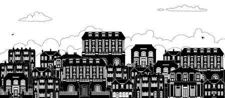 Illustration for Houses Victorian Georgian Silhouettes Row Street - Royalty Free Image
