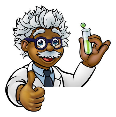 Ilustración de Cartoon Scientist Holding Test Tube Thumbs Up - Imagen libre de derechos