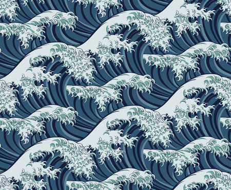 Illustration for Japanese Great Wave Seamless Pattern Background - Royalty Free Image