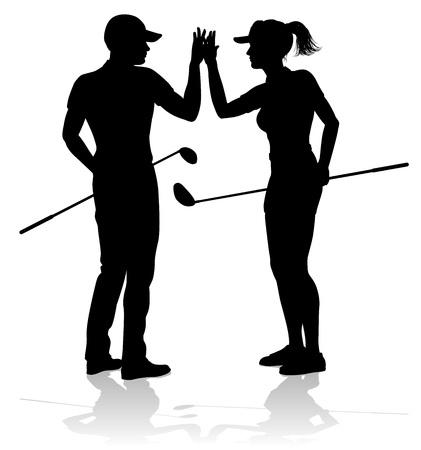 Illustration pour Golfer Golf Sports People in Silhouette - image libre de droit