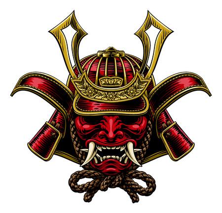 Illustration pour A samurai mask Japanese shogun warrior helmet illustration - image libre de droit