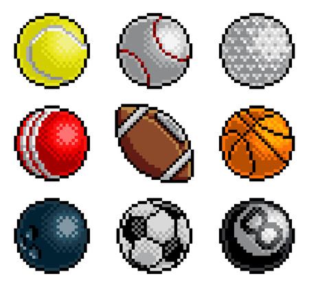 Ilustración de Pixel Art 8 Bit Video Arcade Game Sport Ball Icons - Imagen libre de derechos