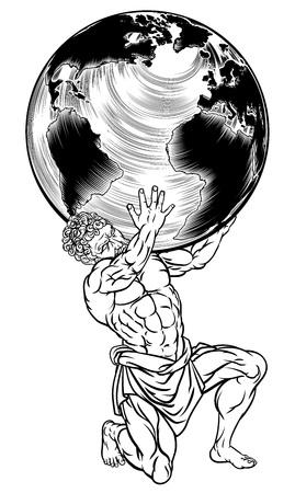 Illustration pour Greek Mythology Atlas Illustration - image libre de droit