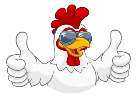 Illustration pour Chicken Rooster Cockerel Bird Sunglasses Cartoon - image libre de droit