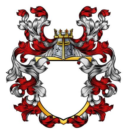 Ilustración de Coat of Arms Crest Knight Family Heraldic Shield - Imagen libre de derechos
