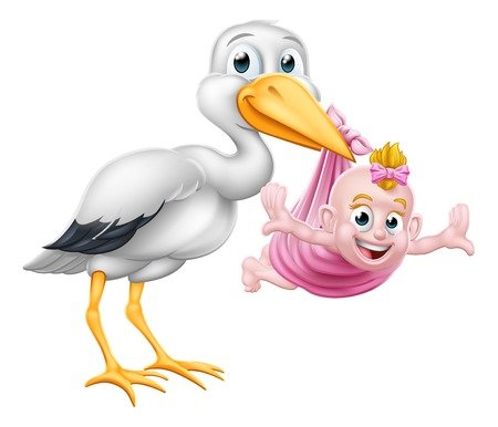Illustration for A stork or crane cartoon bird carrying a new born baby as in the pregnancy myth. - Royalty Free Image