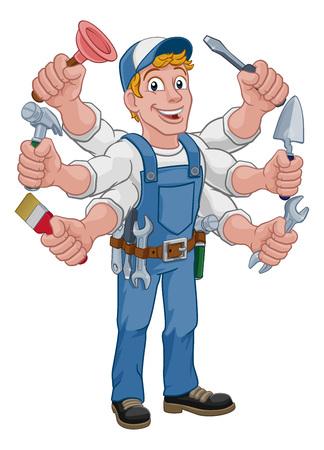 Illustration for Handyman Cartoon Tools Caretaker Construction Man - Royalty Free Image