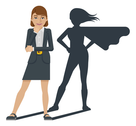 Illustration pour A young business woman revealed as super hero by her superhero silhouette shadow - image libre de droit