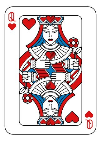 Illustration for Playing Card Queen of Hearts Red Blue and Black - Royalty Free Image