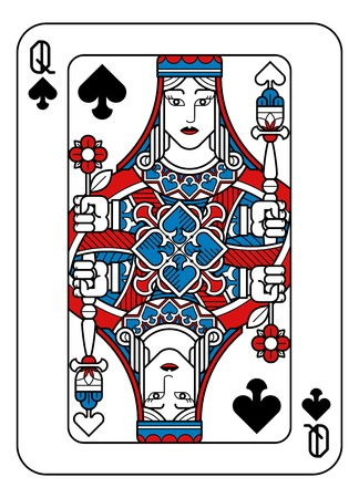 Illustration pour Playing Card Queen of Spades Red Blue and Black - image libre de droit