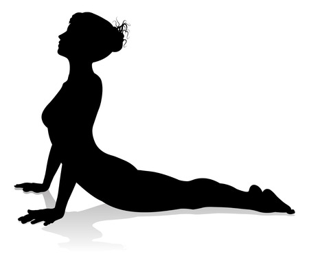 Illustration pour Yoga Pilates Pose Woman Silhouette - image libre de droit