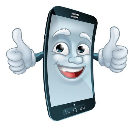 Illustration pour Mobile Cell Phone Mascot Cartoon Character - image libre de droit