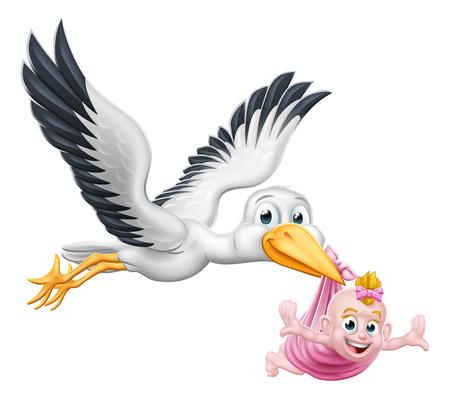 Photo pour Stork Cartoon Pregnancy Myth Bird With Baby - image libre de droit