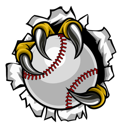 Illustration pour Baseball Ball Eagle Claw Talons Ripping Background - image libre de droit