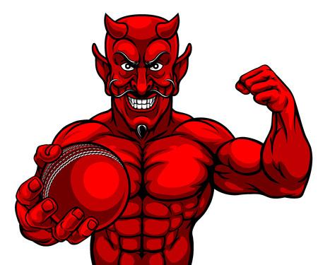 Illustration pour Devil Cricket Sports Mascot Holding Ball - image libre de droit