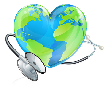 Illustration for Health Concept Stethoscope Heart Earth World Globe - Royalty Free Image