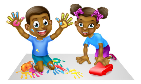 Illustration for Two Children Playing - Royalty Free Image