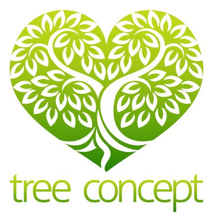 Illustration pour Tree Heart Shaped Icon Concept - image libre de droit