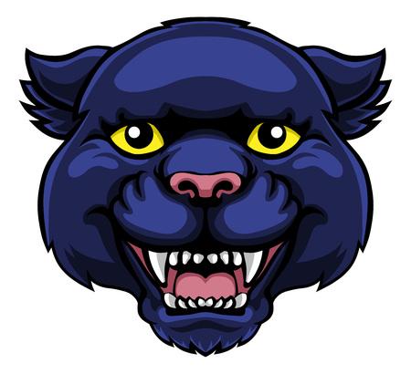 Illustration pour Panther Mascot Cute Happy Cartoon Character - image libre de droit
