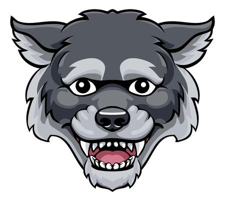 Illustration pour Wolf Mascot Cute Happy Cartoon Character - image libre de droit