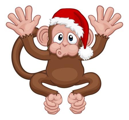 Illustration pour Santa Hat Christmas Monkey Cartoon Character - image libre de droit