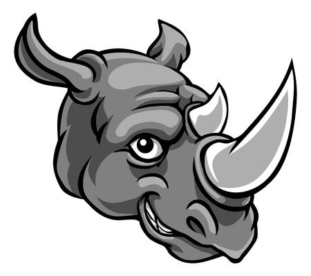 Illustration pour Rhino Mascot Cute Happy Cartoon Character - image libre de droit