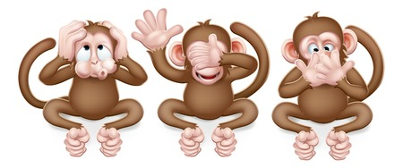 Illustration pour The monkeys from the saying see, hear and speak no evil cute cartoon characters. - image libre de droit