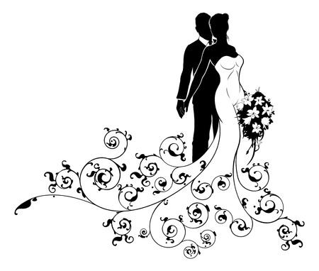 Illustration pour Bride and Groom Wedding Silhouette Concept - image libre de droit