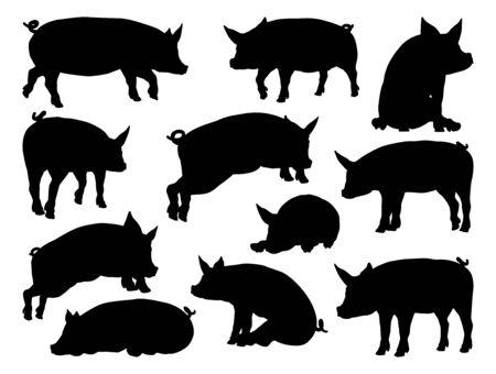 Illustration pour Pig Silhouettes Farm Animal Set - image libre de droit