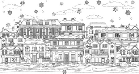 Illustration for Christmas Snow Houses Coloring Outline Scene - Royalty Free Image