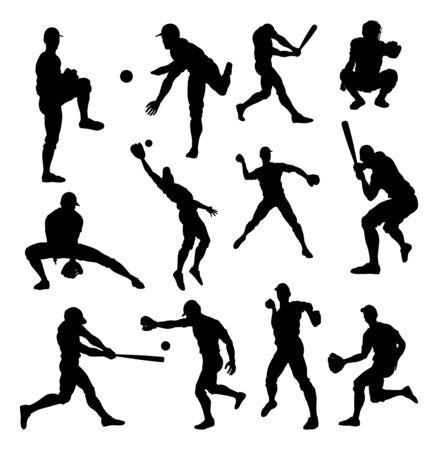 Illustration pour Baseball Player Silhouettes - image libre de droit