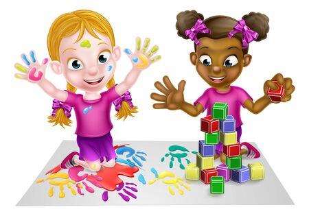 Illustration pour Two little girls, one black and one white, having fun playing with paints and building blocks. - image libre de droit