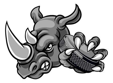 Illustration pour Rhino Ice Hockey Player Animal Sports Mascot - image libre de droit