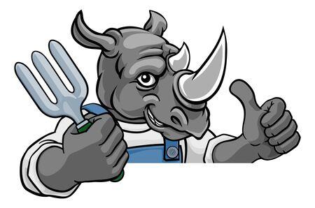 Ilustración de Rhino Gardener Gardening Animal Mascot - Imagen libre de derechos